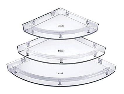 Drizzle Corner Shelves Super Clear/Corner Shelf Transparent/Corner Shelf For Bathroom/Corner Shelf For Home Decor - One Set (3 Pieces)
