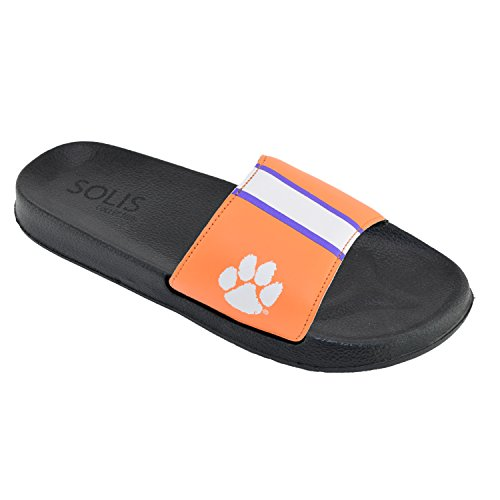 Tigers Flip Flop Sandals - Men's Team Helmet Legacy Sport Shower Sandal Slides (Medium 9-10, Clemson Tigers)