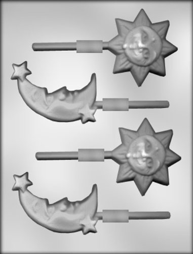 CK Products 2-3/4-Inch Sun and 3-1/4-Inch Moon and Stars Sucker Chocolate Mold (Chocolate Molds Moons And Stars)