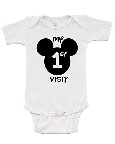 Short Sleeve Onesie w/My First Disney Visit, White, 3-6m