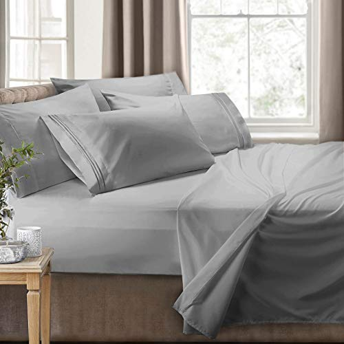 Clara Clark RV/Short Queen 6-Piece Bed Set for Campers-Deep Pocket Fitted Sheet Luxury Soft Microfiber, Hypoallergenic, Silver