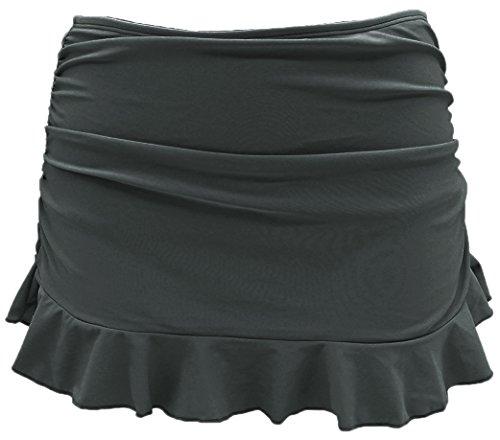 SHEKINI Women's Swimdress Swimsuit Built-in Swim Bottoms Shirred Ruffle Skirt Bikini Bottoms (Small/(US 4-6), Charcoal Grey)