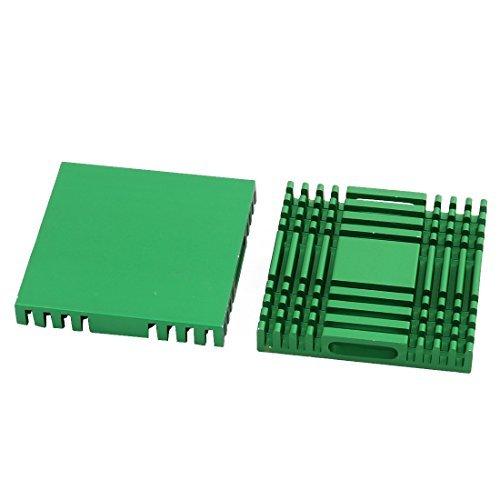 DealMux 2pcs 38 mm x 38 mm x 6 mm de aluminio del disipador de calor difusa de calor de enfriamiento Fin verde DLM-B07234X4C4