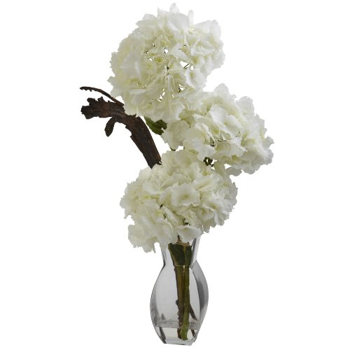 (Nearly Natural 1325 Triple Hydrangea with Vase, White)