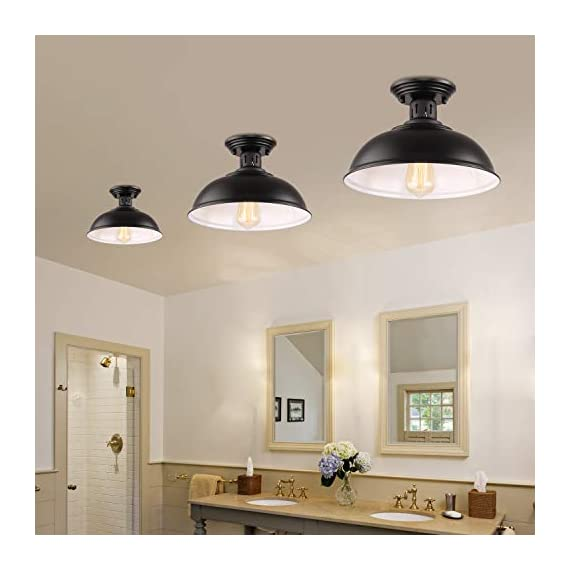 HMVPL Semi Flush Mount Ceiling Light Fixture, Farmhouse Black Close to Ceiling Lighting Industrial Decor Lamp for Kitchen Island Bedroom Living Room Foyer Hallway Entryway Office Closet - Wide Application: Kitchen Island, Dining Room, Living room, Bed room, Café, Bar, Hotel, Office, Hallway, Entryway, Foyer, barn, warehouse, basement, garage, porch, and more. Retro Industrial Design - This pendant light features on the black finish lampshade, which easily brings you back to 19th century. It will adds stylish touch to your house and business areas. Medium Base Socket -Designed with E26 bulb socket that is compatible with a variety of bulb types: Incandescent, Halogen. LED (60W Max, Not Included). This fixture can be dimmable if use compatible dimmer switch and bulb. - kitchen-dining-room-decor, kitchen-dining-room, chandeliers-lighting - 41v3gsZIanL. SS570  -