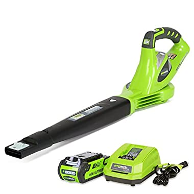 GreenWorks 24252 G-MAX 40V 150 MPH Variable Speed Cordless Blower, 2Ah Battery and Charger Included