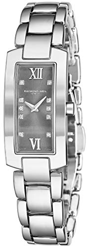 - Raymond Weil Shine Womens Rectangular Diamond Watch - Swiss Made Grey Face with Sapphire Crystal - Stainless Steel Band with Additional Black Satin Leather Band Rectangle Quartz Watch 1500-ST-00785