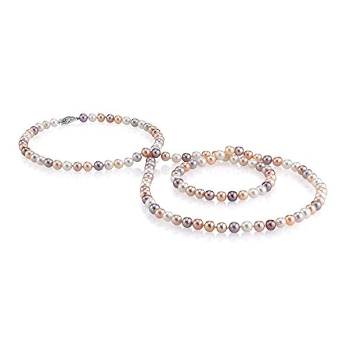 (THE PEARL SOURCE 7-8mm AAA Quality Round Multicolor Freshwater Cultured Pearl Necklace for Women in 24