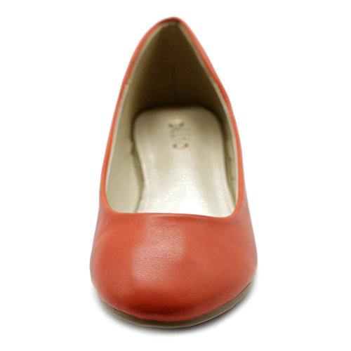 Ollio Damenschuh Ballet Basic Light Comfort Niedriger Absatz Flach Orange