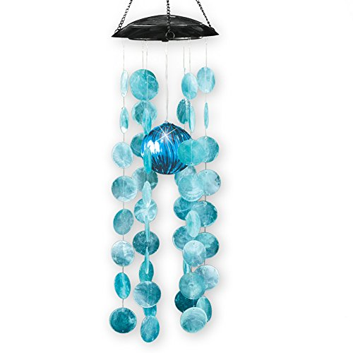 Collections Etc Capiz Shell Solar Lighted Windchime Dangler Chandelier Accent Light (Winston Collection Chandelier)