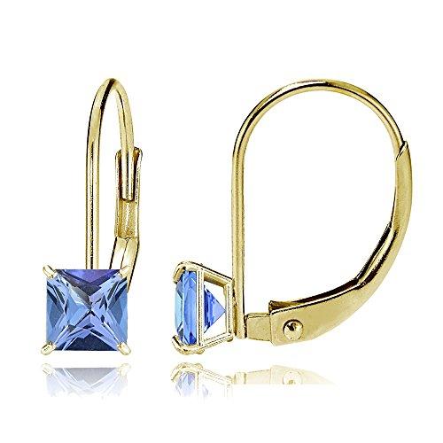 Bria Lou 14k Yellow Gold Tanzanite Gemstone 6mm Square-Cut Leverback Drop Earrings by Bria Lou