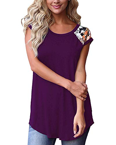 Womens Short Sleeve Tops Color Block Floral Shirts Casual Tunic Blouse M Purple