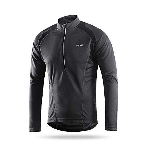 Lixada Arsuxeo Men's Long Sleeve Cycling Jersey Lightweight Breathable Quick Dry Bike Riding Shirt