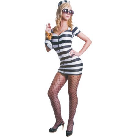 Princess in Prison Black and White Adult Halloween Costume (Princess In Prison Costume)