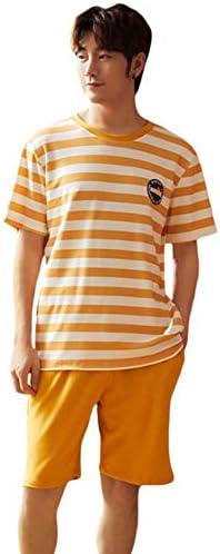 [ShuMing]パジャマ メンズ 半袖 ルームウェア 夏 上下セット 部屋着 セットアップ ボーダー柄 おしゃれ 寝間着 ショートパンツ 便利服