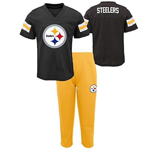 (Outerstuff NFL NFL Pittsburgh Steelers Infant Training Camp Short Sleeve Top & Pant Set Black, 24 Months)