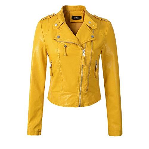 - Heart .Attack jacket Women Motorcycle PU Leather Jackets Female Autumn Short Epaulet Zippers Coat Outwear,Yellow,M