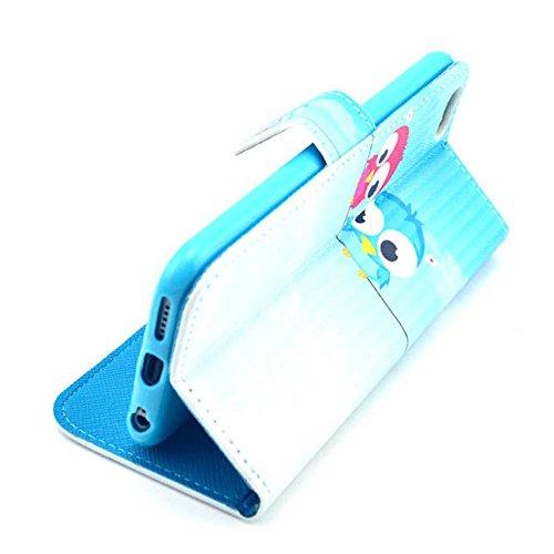 (11#) Owl Painting Art Design Beutel PU Leder Stehen Flip Schutzhülle Hülle Tasche Schale Case Cover für Apple iPhone 6 Plus (5.5 Zoll)