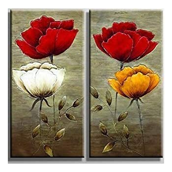 Ypy Oil Painting Flowers Wall Art Prints On Canvas For Home Living Room Bedroom Office Decoration Floral Paintings Stretched And Framed Ready To Hang