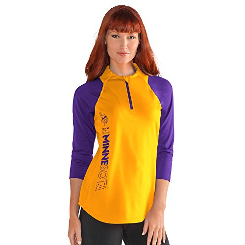 NFL Minnesota Vikings Women's Zip It Up 3/4 Sleeve Tee, XX-Large, Gold (Zip Sleeve Tee)