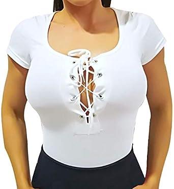 Body Mujer Manga Corta. Body Camisa Manga Corta para Combinar con Falda (Escote Blanco) - S: Amazon.es: Ropa y accesorios