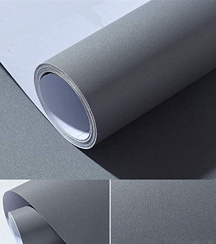 Solid Color Matte Textured Vinyl Peel and Stick Wallpaper Contact Paper Self-Adhesive Wallpaper Shelf Liner Home Decorative Paper,15.8inch by 79inch (Grey)