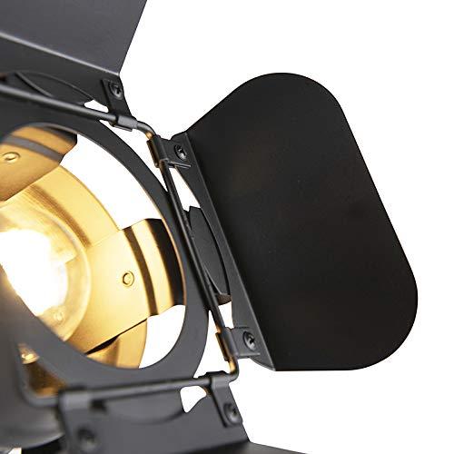 1 x Watt QAZQA Industrial L/ámpara de pie industrial de cine negro E27 con viseras MOVIE Met/álica Alargada Adecuado para LED Max