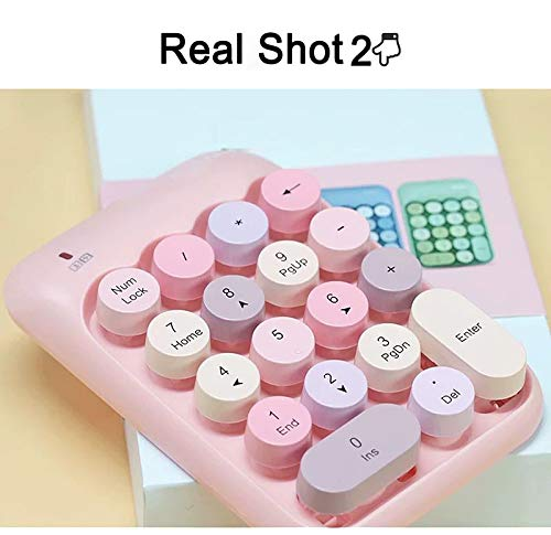 Onlywe 2.4G Wireless Number Pad,Portable Cute 18-Round Key Keypad Financial Accounting Numeric Keypad Keyboard for Laptop,PC,Desktop,Notebook,etc with USB Receiver(Pink Keypad only)