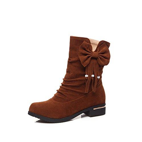 VogueZone009 Damen Ziehen auf Blend-Materialien Niedriger Absatz Rein Stiefel, Weinrot, 35