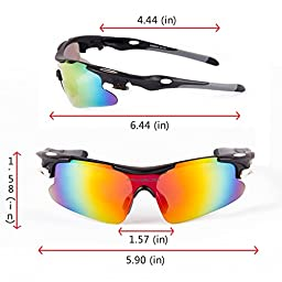 RIVBOS Rb0802 POLARIZED Sports Sunglasses with 5 Set Interchangeable Lens (Black)