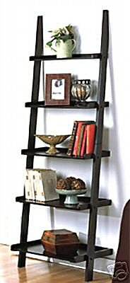 NEW LEANING STUDIO WALL SHELF LADDER BOOKCASE BOOKSHELF 5-TIER
