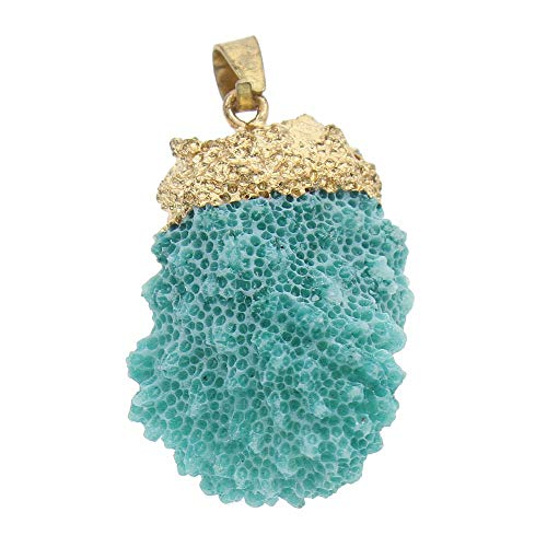 1pc Turquoise Green Blue Dyed Gold Freeform Natural Coral Real Charms Plated Pendants Bail Bohemian Beach Ocean Sea Jewelry 34mm - 60mm Hole