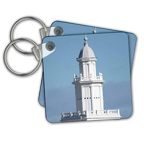 Jos Fauxtographee- Temple Spire Crosshatch - A smooth Spire on the St. George Temple on blue sky - Key Chains - set of 2 Key Chains (kc_308230_1)