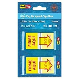 Redi-Tag - 4 Pack - Spanish Page Flags In Pop-Up Dispenser \