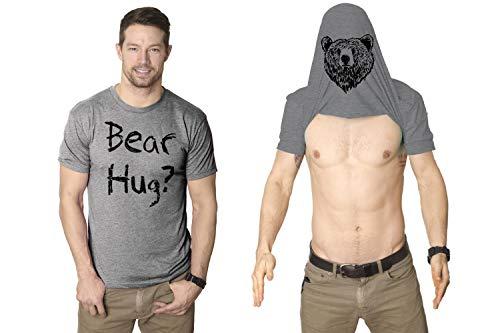 Mens Grizzly Bear Flip T Shirt Funny Bear Hug Shirt Humorous Novelty Tee for Men (Heather Grey) -