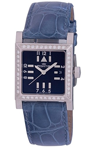 Fortis Women's 628.14.71 LC Spacematic Automatic Square Black Dial Blue Leather Diamond Watch