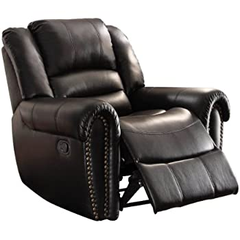 Homelegance 9668BLK 1 Glider Reclining Chair, Black Bonded Leather