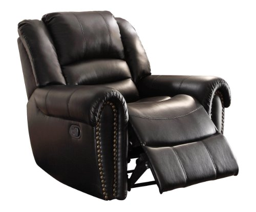 Leather Reclining Rocking Chair - Homelegance 9668BLK-1 Glider Reclining Chair, Black Bonded Leather