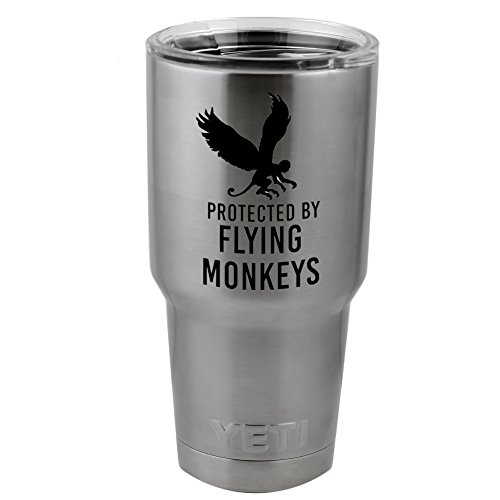 Funny Protected By Flying Monkeys Vinyl Sticker Decal for Yeti Mug Cup Thermos Pint Glass (4