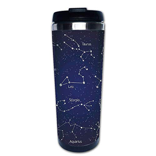 - Stainless Steel Insulated Coffee Travel Mug,Like Set of Zodiac Clusters and Sign Names,Spill Proof Flip Lid Insulated Coffee cup Keeps Hot or Cold 13.6oz(400 ml) Customizable printing