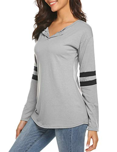 Queensheero Womens Striped Tops Long Sleeve Basebal Tees Long T-Shirt Splice Blouse Tunics Grey, L ()