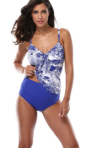 Attraco Women's Retro Floral Two Piece Swimsuit Tankini for Women Size 18