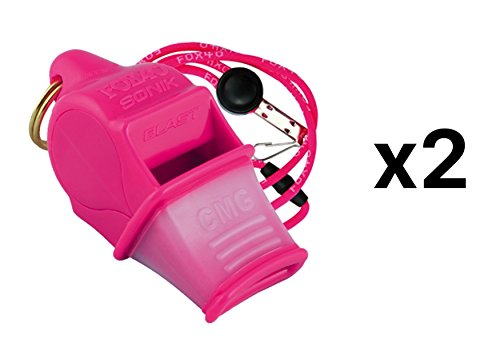 Fox 40 Sonik Blast Cushion Mouth Group Sports and Safety Loud Whistle with Lanyard, Pink (2 Pack)