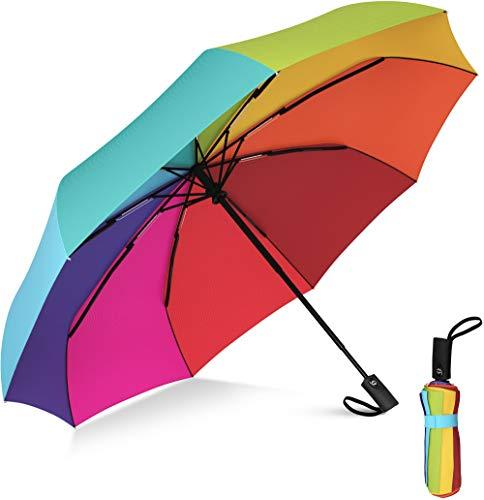 Rain-Mate Compact Travel Umbrella - Windproof Umbrella - 9 Rib Reinforced Canopy - Auto Open and Close Button (Rainbow)