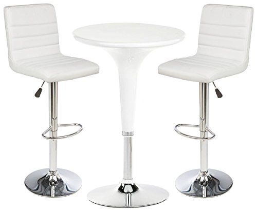 2 White Leatherette Bars Stool set with 1 Round Cocktail Highboy Table, Chrome Base/Stand