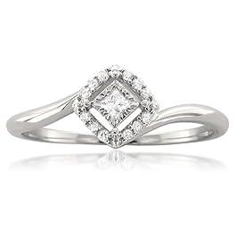 1/8 Carat Diamond, Prong-Set 10kt White Gold Princess-cut & Round Diamond Promise Ring (H-I, I2-I3) by La4ve Diamonds   Real Diamond Engagement Ring For Women   Gift Box Included