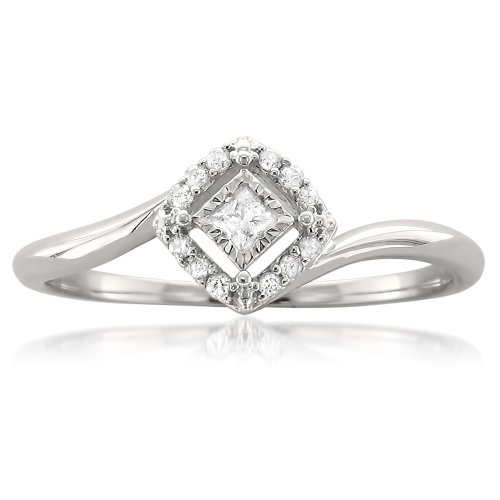 10k White Gold Princess-cut & Round Diamond Promise Ring (1/8 cttw, H-I, (10k Gold Promise Rings)