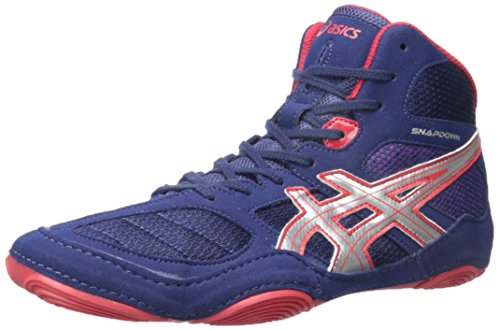 Asics Men's Snapdown Wrestling Shoe - Navy/Silver/Red - 1...