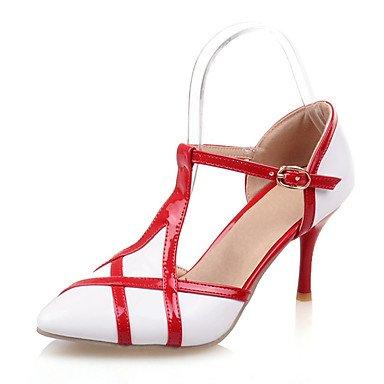 LFNLYX Sandalias de Verano de la mujer D'Orsay & Dos piezas polipiel boda vestido de noche y Stiletto talón hebilla Rosa negro blanco rojo Beige Otros White