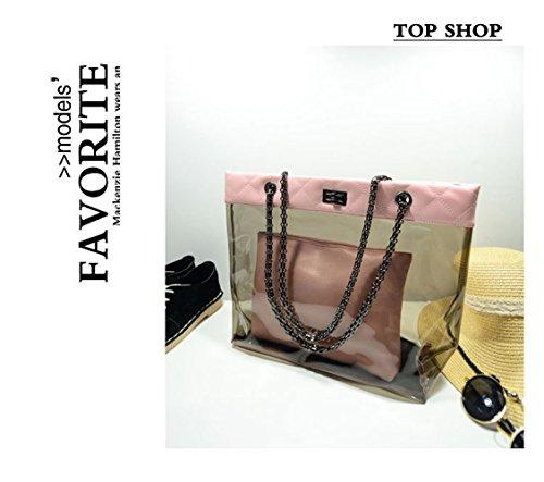 Beach Casual Pink Tote Womens Handbag Bags FTSUCQ Chain Clear Swimming Transparent Trapeze 7q05Zw5